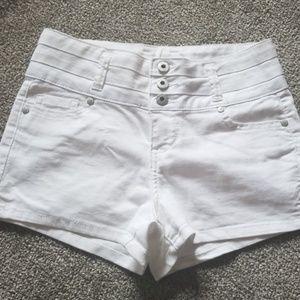 White light denim shorts
